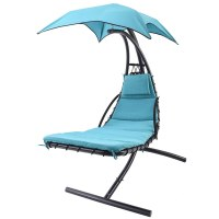 Blue Hanging Chaise Lounge Chair Umbrella Patio Furniture ...