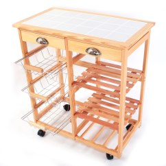 Kitchen Cart With Drawers Imperial Equipment Rolling Wood Island Trolley Storage Tile Top Stand Durabl