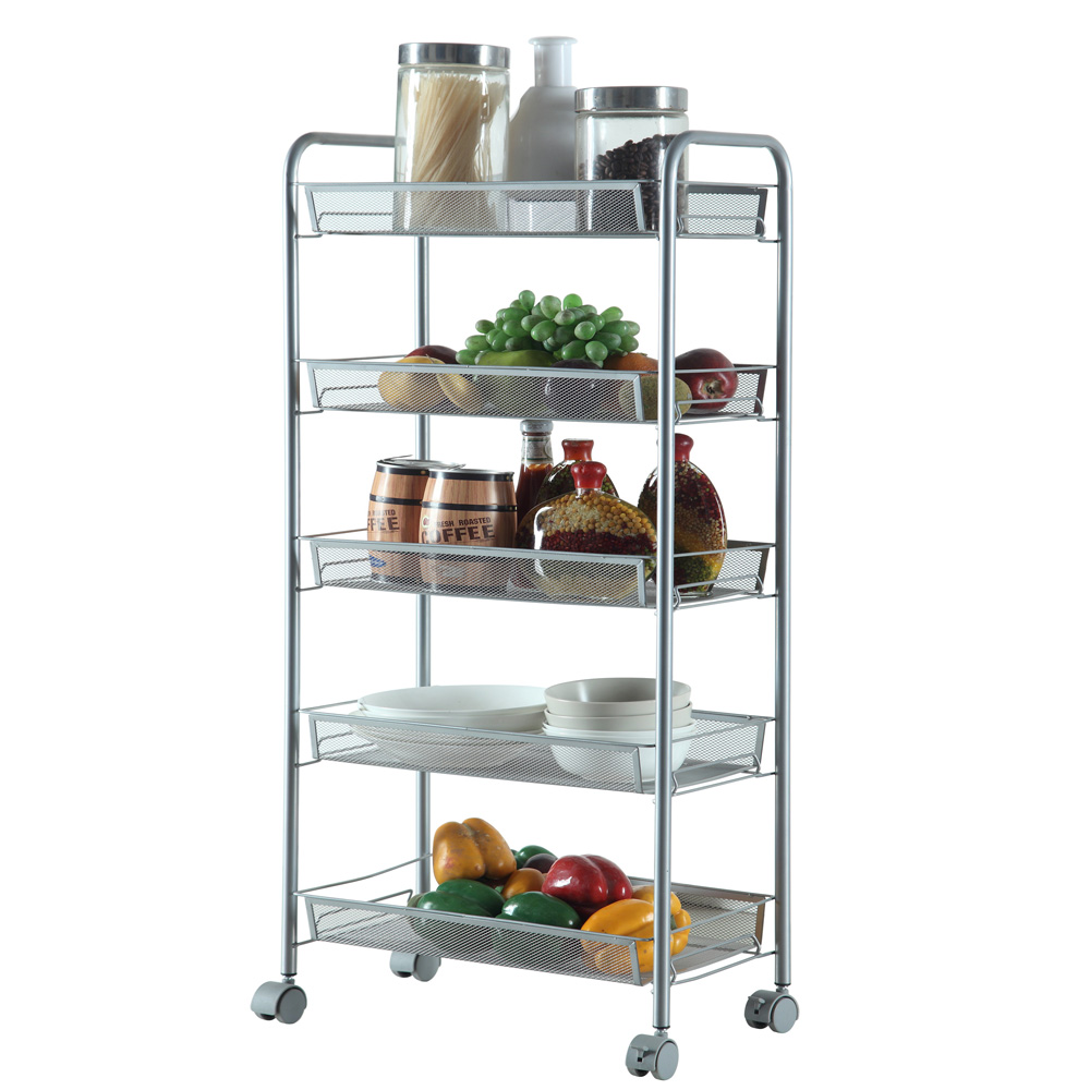 345Tier Organizer Metal Rolling Storage Shelving Rack