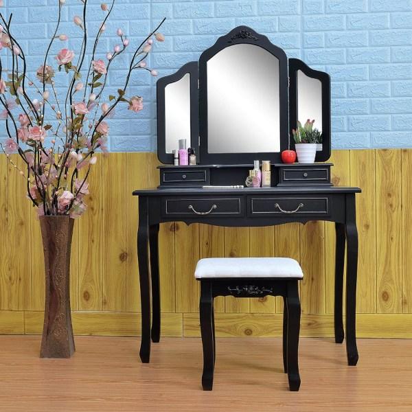 Black Tri-folding Mirror Vanity Set 4 Drawers Dressing