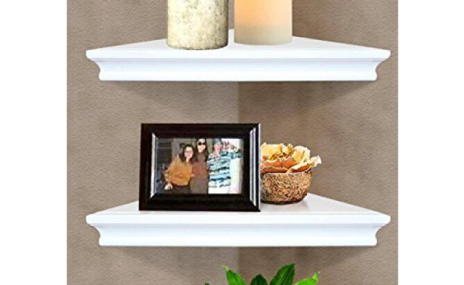 Set Of 2 Floating Corner Wall Shelf Display Trinket Photo