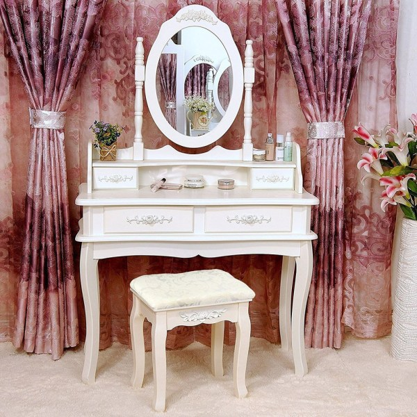 White Vanity Makeup Dressing Table Set Withstool 4 Drawer