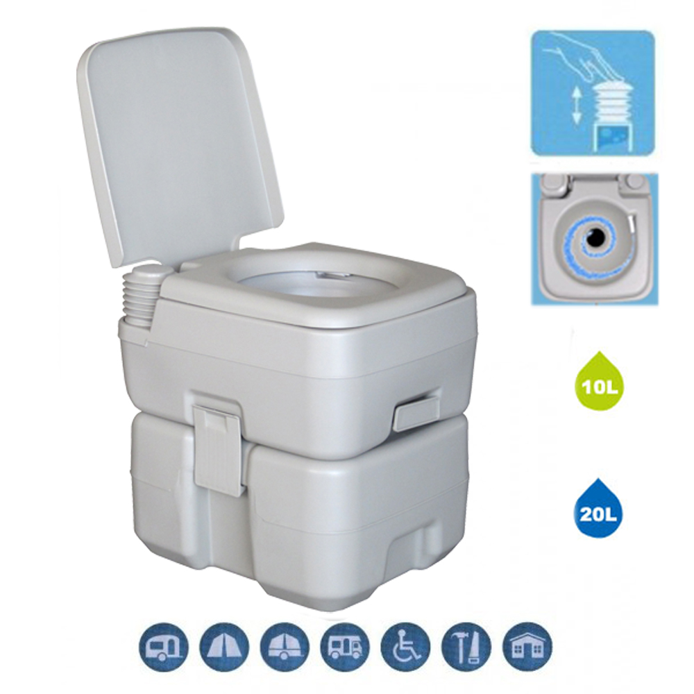 20L Portable Toilet Flush Camping Hiking Toilet Potty and