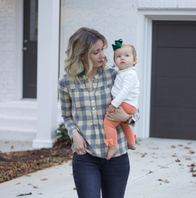 dressing-up-plaid-with-tassel-earrings-mommy-baby-style-city-peach