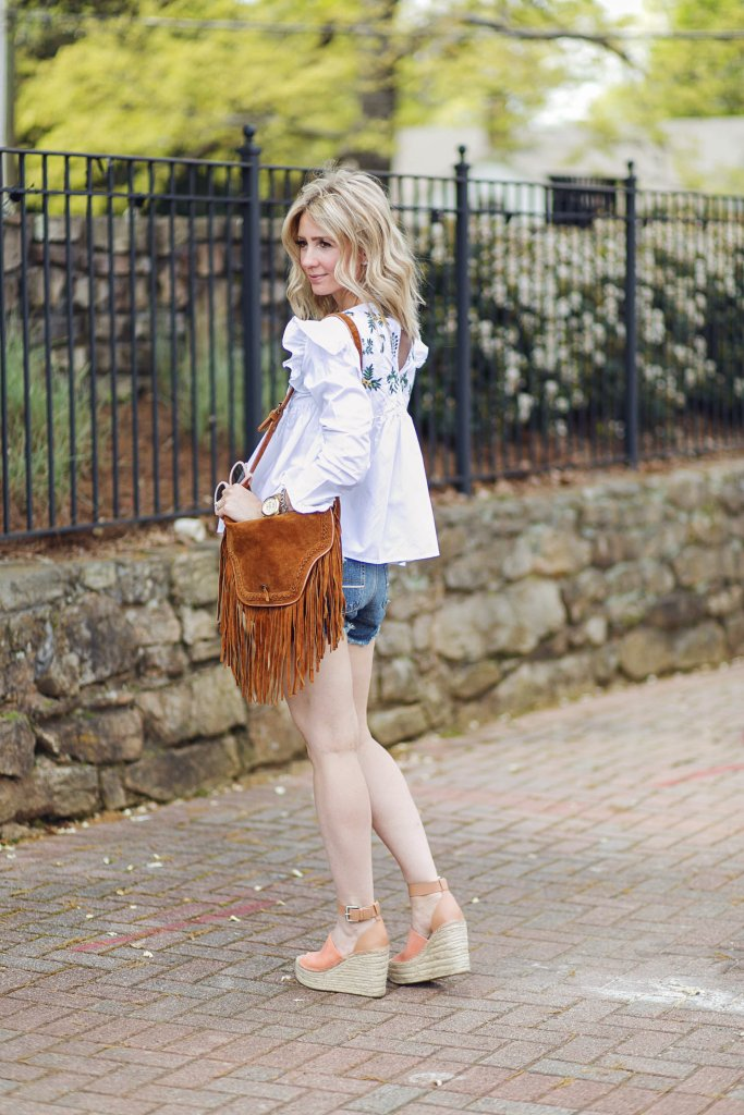 embroidered-top-Zara-shein-denim-cut-offs-marc-fisher-wedge-city-peach
