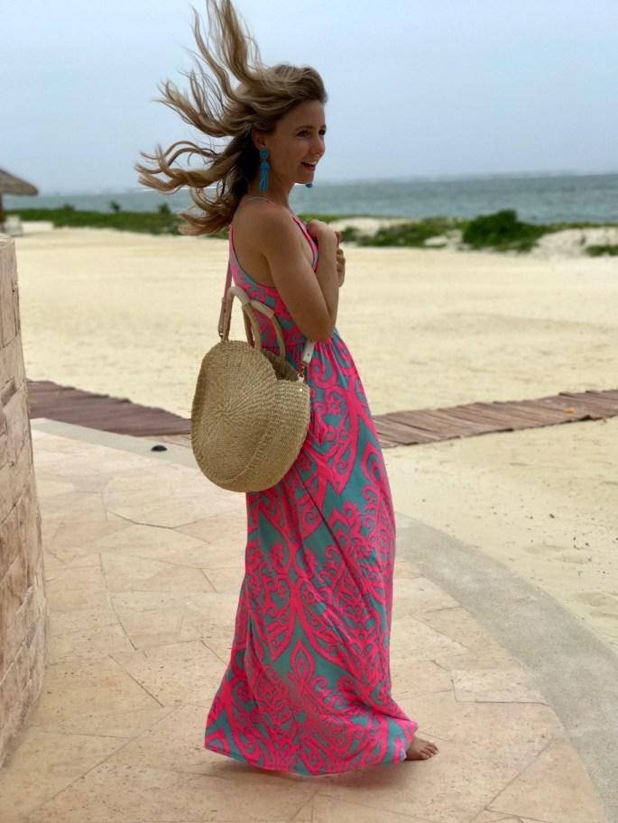 pink-lily-boutique-maxi-dress-clare-vivier-circle-bag-city-peach