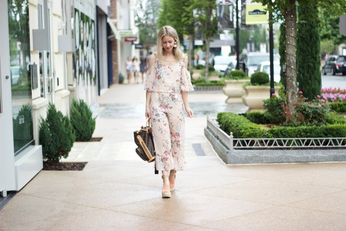 floral-jumpsuit-shein-marc-fisher-wedges-city-peach