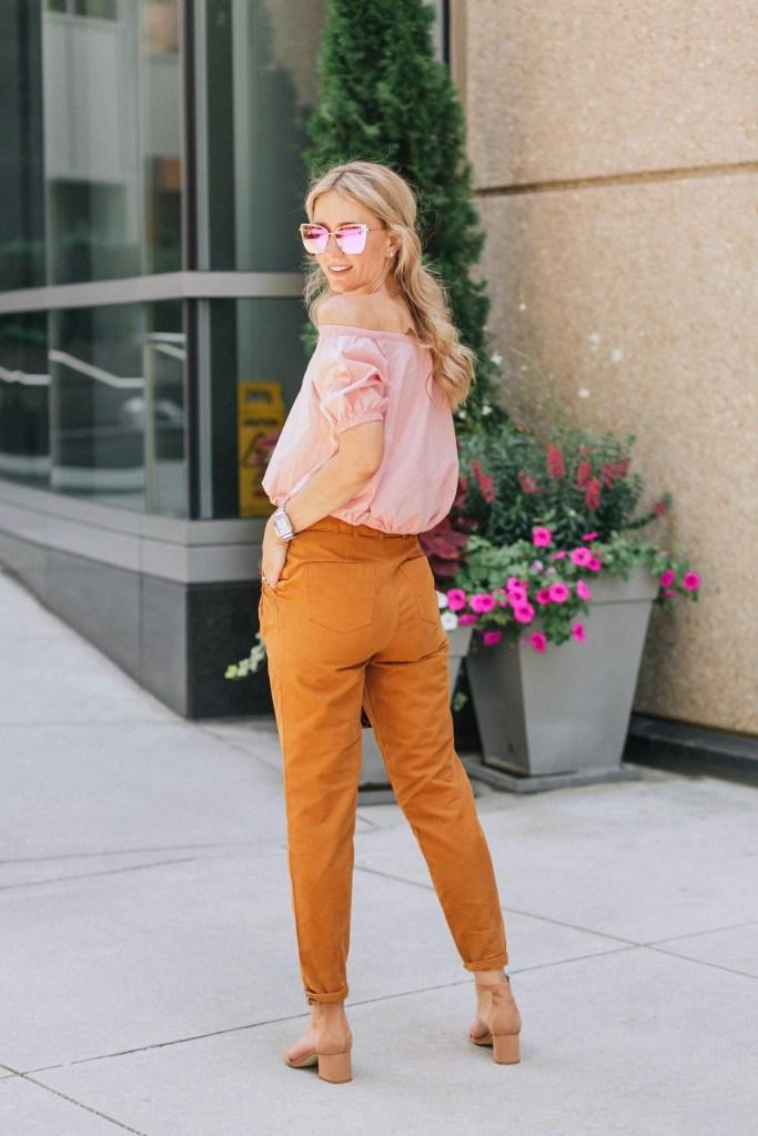 mustard-high-waist-pants-blush-off-the-shoulder-madewell-top-diff-becky-city-peach