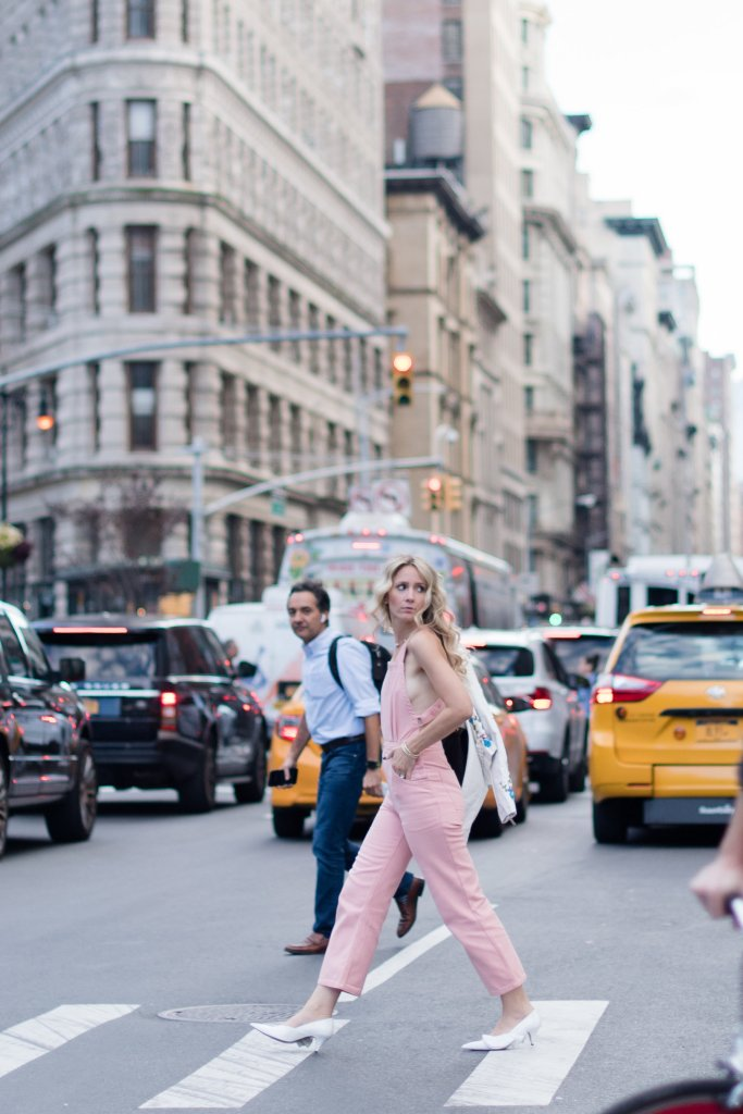 pink-overalls-white-heels-NYFW-city-peach-streetstyle