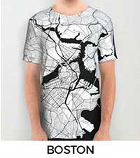 Boston Map City Art Posters
