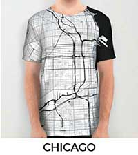 Chicago Map City Art Posters