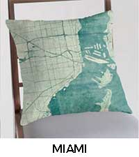 Miami Map City Art Posters