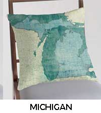 Michigan Map City Art Posters