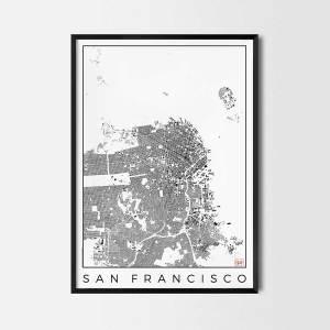 San Francisco Urban plan city map art schwarzplan