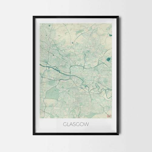 Glasgow City Map Posters Art Prints