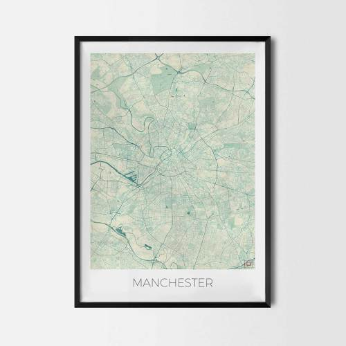 Manchester City Map Posters Art Prints