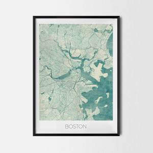 Boston art posters city map
