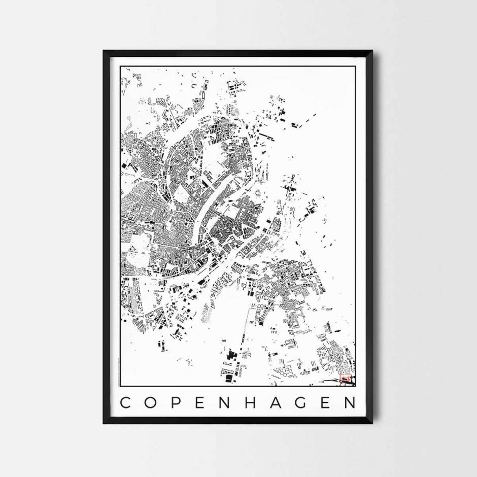 Copenhagen map poster schwarzplan urban plan
