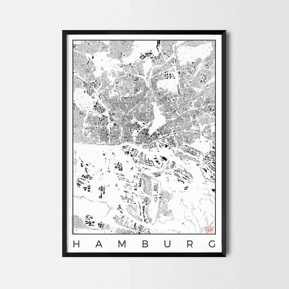 Hamburg map poster schwarzplan urban plan