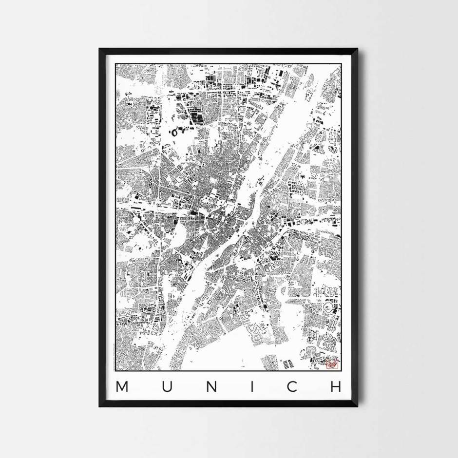 Munich map poster schwarzplan urban plan