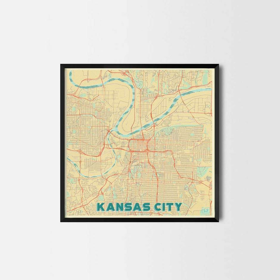 Kansas gift - Map Art Prints and Posters, Home Decor Gifts