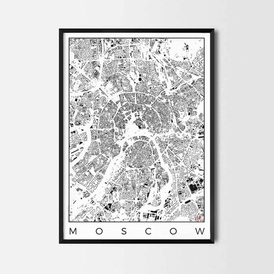 Moscow map poster schwarzplan urban plan