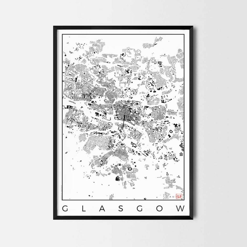 Glasgow map poster schwarzplan urban plan
