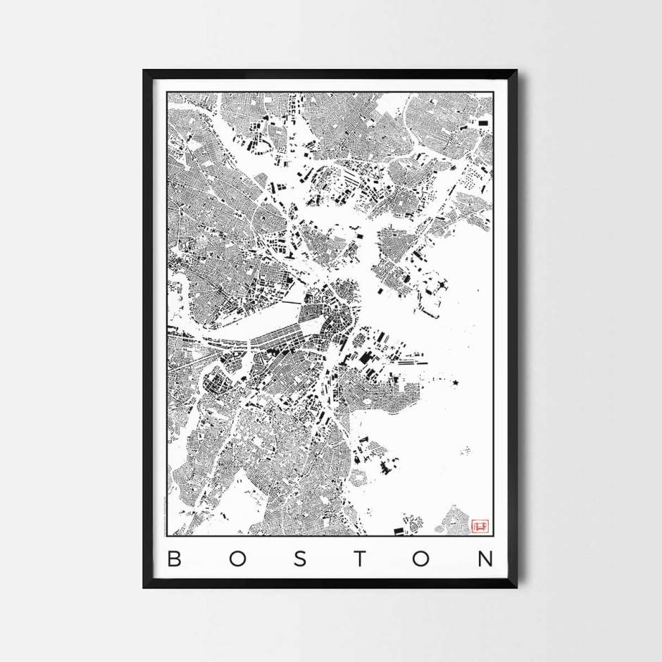 Boston map poster schwarzplan urban plan