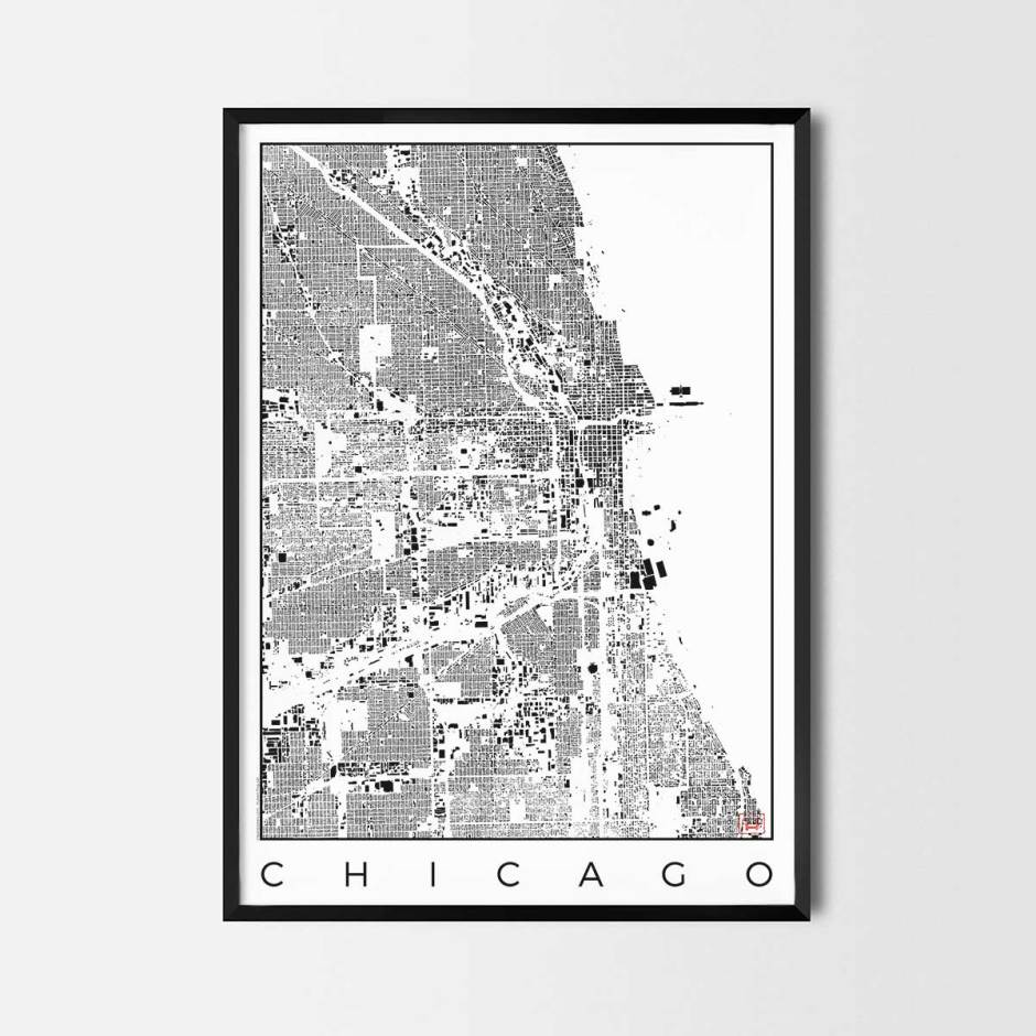 Chicago map poster schwarzplan urban plan