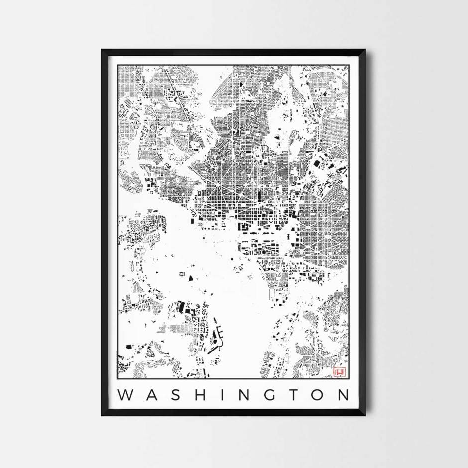 Washington map poster schwarzplan urban plan