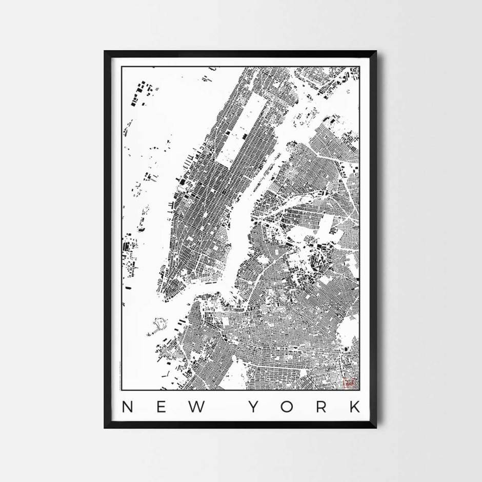 New York map poster schwarzplan urban plan