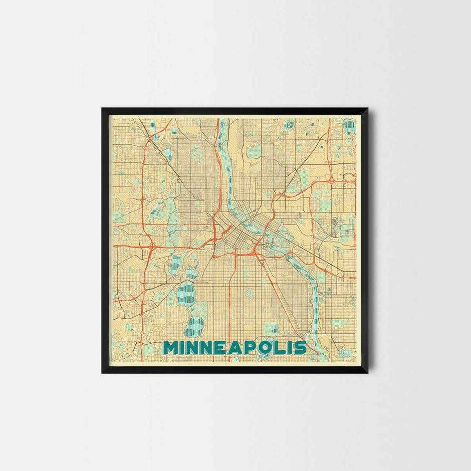 Minneapolis gift - Map Art Prints and Posters, Home Decor Gifts
