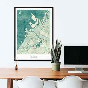 Dubai gift map art gifts posters cool prints neighborhood gift ideas