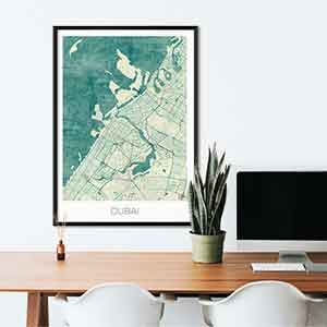 Dubai gift map art gifts posters cool prints neighborhood gift ideas