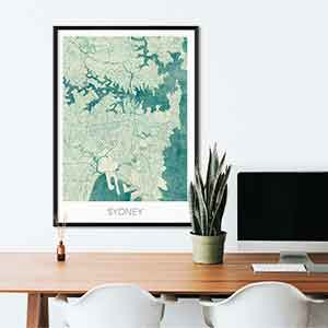Sydney gift map art gifts posters cool prints neighborhood gift ideas