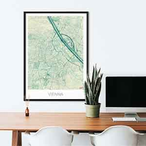 Vienna gift map art gifts posters cool prints neighborhood gift ideas
