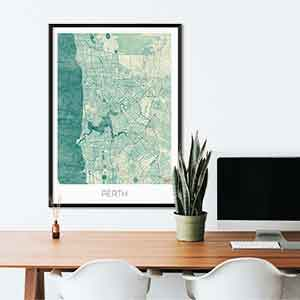 Perth gift map art gifts posters cool prints neighborhood gift ideas