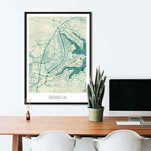 Brasilia gift map art gifts posters cool prints neighborhood gift ideas