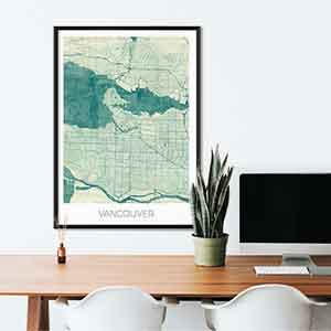 Vancouver gift map art gifts posters cool prints neighborhood gift ideas