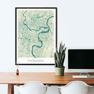 Chongqing gift map art gifts posters cool prints neighborhood gift ideas