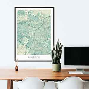 Santiago gift map art gifts posters cool prints neighborhood gift ideas