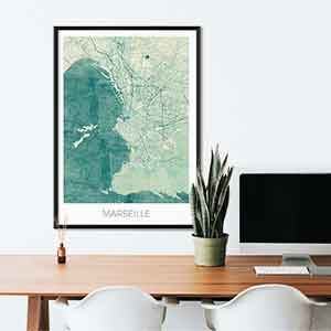 Marseille gift map art gifts posters cool prints neighborhood gift ideas
