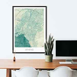 Athens gift map art gifts posters cool prints neighborhood gift ideas