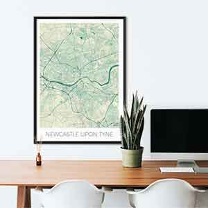 Newcastle Upon Tyne gift map art gifts posters cool prints neighborhood gift ideas