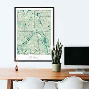 St Paul gift map art gifts posters cool prints neighborhood gift ideas