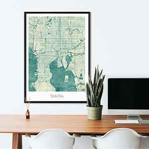 Tampa gift map art gifts posters cool prints neighborhood gift ideas