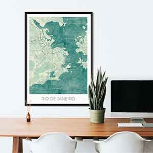 Rio de Janeiro gift map art gifts posters cool prints neighborhood gift ideas