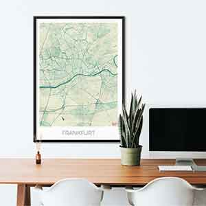Frankfurt gift map art gifts posters cool prints neighborhood gift ideas