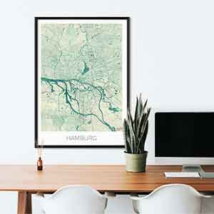 Hamburg Gift Map Art Prints And Posters Home Decor Gifts