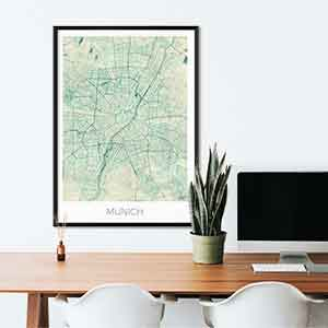 Munich gift map art gifts posters cool prints neighborhood gift ideas
